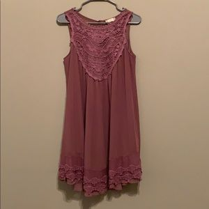 Altar'd State purple dress with lace details